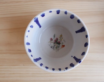 Flower decal bowl Cobalt blue white stoneware small bowl with drops