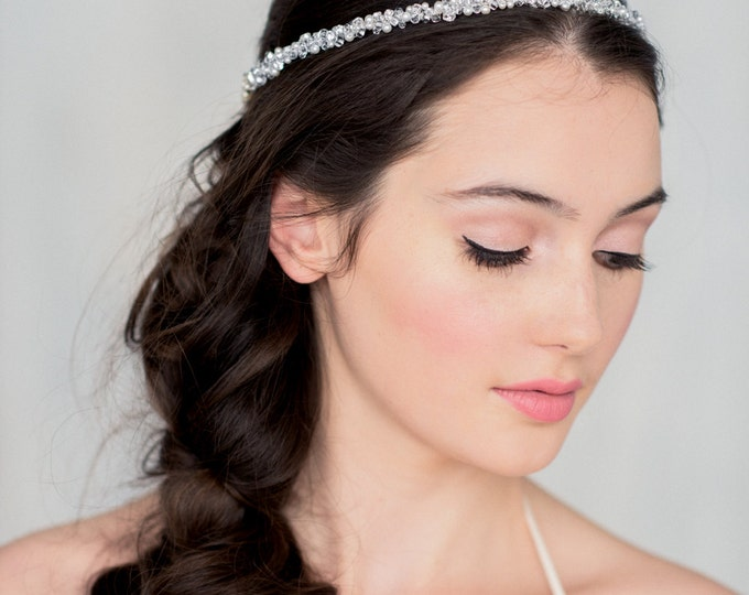 Silver Crystal Crown, Bridal Accessory, Circlet Headpiece, Crystal Tiara, Crystal Halo,   MARJORIE Silver Combo Only READY to SHIP
