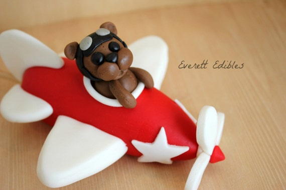 Airplane fondant topper cake decoration by everettedibles for Airplane cake decoration