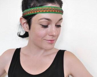 OOAK, Cotton Headband, Crocheted Headband, Beaded Headband, Boho Chic / Hippie Head Accessory, Summer Headpiece