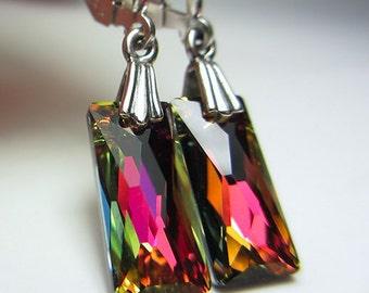 Swarovski Column Earrings Rainbow Earrings Rectangle Earrings Molten Lava Earrings Prism Crystal Earrings Sterling Silver Earrings Gift