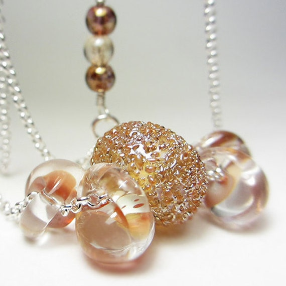Artisan Lampwork Necklace Sterling Silver Warm Caramel Drop Lampwork Necklace Cream Shades Frosted Lampwork Glass Boho Glass Jewelry Gift