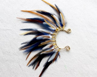 Mohawk Feather Ear Wrap/Cuff in Navy Blue & Gold