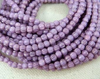 Czech Beads, 3mm Melon, Czech Glass Beads - Lilac Purple Luster (D3M/SM-P14415) - Czech Glass Melon Bead - Qty 100