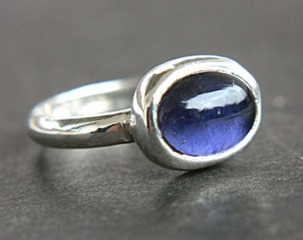 Iolite Ring Sterling Silver Water Sapphire Iolite Ring Made in Your Size Modern Iolite Oval Shape Ring September Birthstone Ring
