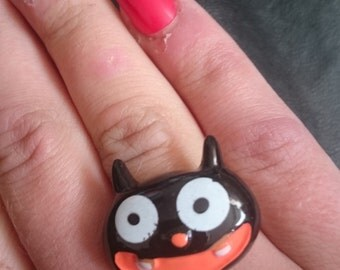 Halloween Creepy Cute Resin Crazy Black Cat Adjustable Ring Large Goth
