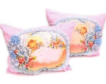 Twins Baby Nursery Pillows Handmade Pastel Pink Gingham Lace Blue Satin Child's Bed Cottage Shabby Room Decor Bassinet Crib Bedding Gift Set