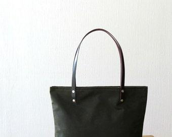 Waxed Canvas Bag, Wax Tote Bag Leather Handles Olive Green, Large Many Pockets, Purse, Handbag, Shoulder Bag