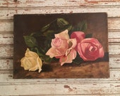 Victorian oil on canvas Roses