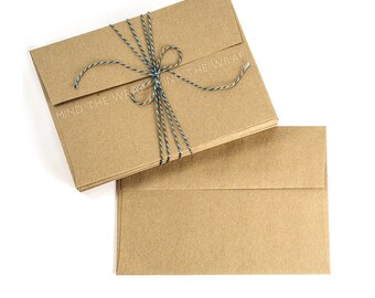 50 - A7 size Kraft Envelopes 7.25 x 5.25 inches - Brown Bag Paper Grocery Bag style - Recycled - made in the USA