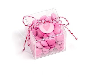 25 - 2-inch Cube Boxes - Crystal Clear Packaging for Macarons wedding Favors Candy Candles small products