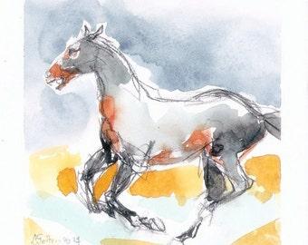 Horse Watercolor Racing horse 6 original horse art