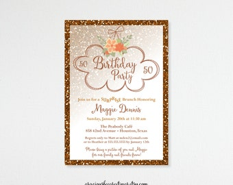 Woman's Birthday Invitation, Glitter Birthday Party, 30th, 40th, 50th, 60th, 65th, 90th, digital, printable invite
