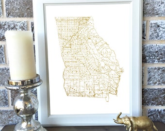 Gold Vintage State Print Art - All 50 States Available and Washington D.C - 8x10 or 11x17 - Map - Graduation - Anniversary - Birthday - Gift