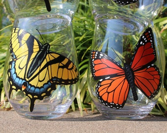 Butterfly Stemless Acrylic Wine Glasses, Hand Painted, 2, MADE TO ORDER