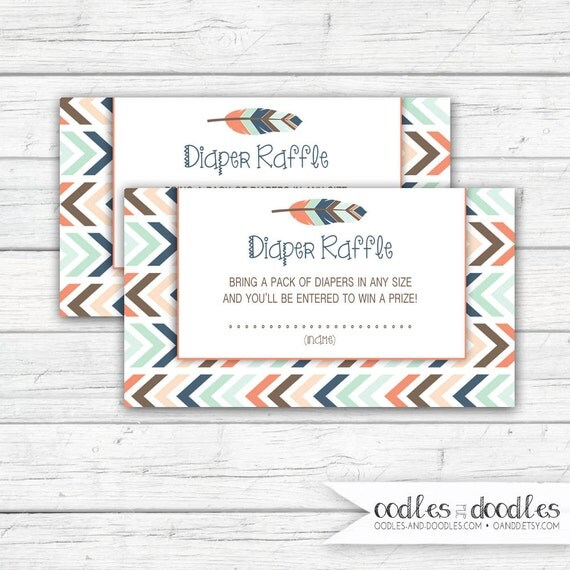 Tribal Baby Shower Diaper Raffle Ticket, Gender Neutral, Printable Diaper Raffle Tickets, Tribal, Boho, Printable, Instant Download