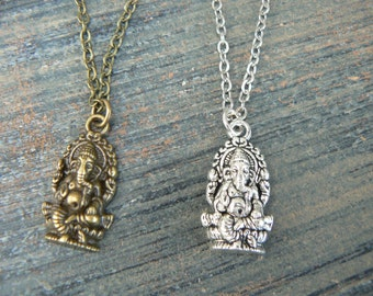 best friends necklace SET of TWO Yoga necklace Mother daughter jewelry Ganesha necklaces pendant necklaces  hipster boho hippie gothic