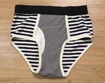 HOT ITEM - 100% Recycled T-Shirt Handmade Men's Brief Underwear PanTees: Navy Blue Stripes & Light Grey (Sz S)