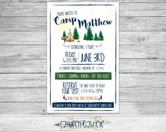 Camping Birthday / Invitation / Printable