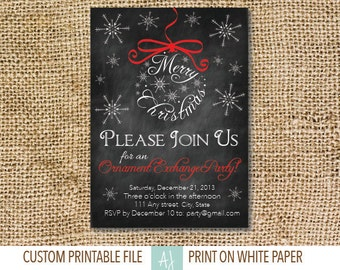 Ornament Exchange Party Invite- Printable Holiday Invitation- Christmas Party Invite- Digital File