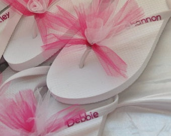 SALE!! Custom WEDDING Flip Flops, BRIDESMAID Flip Flops, Personalized Tulle Flip Flops, Bridesmaid Gifts, Beach Weddings