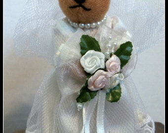 Vintage Mininature Bride Bear