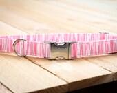 Pink, Light Pink Dog Collar - Stripe, Female, Valentines Day, Pets Collar  - Metal Buckle