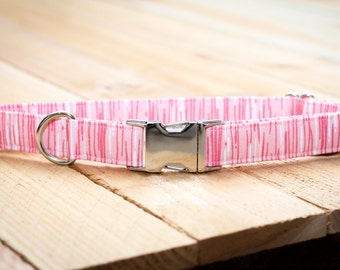Pink, Light Pink Dog Collar - Stripe, Female, Valentines Day, Pets Collar  - Metal Buckle