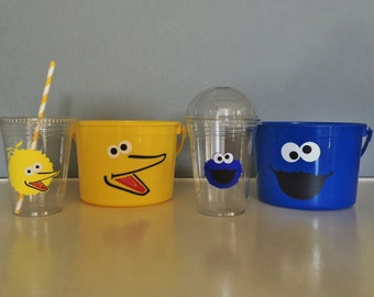 Sesame Street Inspired Party Cups and Favor Buckets
