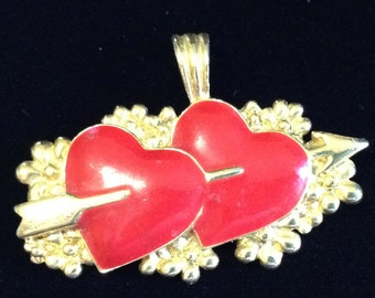 Vintage Enamel Double Hearts Pendant by BG (Tier 2)
