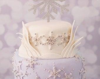 Silver Glitter Snowflake Cake Topper