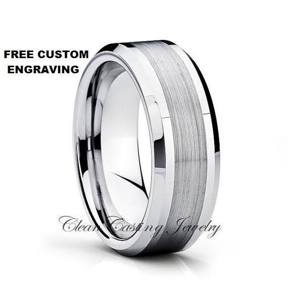 Tungsten Wedding Bands,Tungsten Wedding Ring,Beveled Edges,Saint Polish,Grooms Ring,Handmade,Anniversary,Engagement Band,8mm