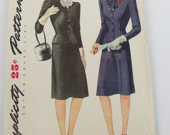 1940s vintage Simplicity Suit and hat sewing Pattern size 14 bust 32 1109