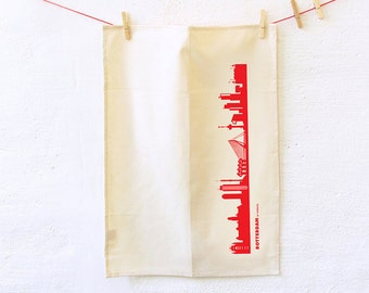 ROTTERDAM Dish towel, Rotterdam red Skyline , Flour Sack Towel, gift for moving, green gift Kitchen Towel, Rotterdam print, Tea Towel Gift,
