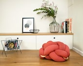 Large Knot floor Cushion in Terracotta Red, Knot Floor Pillow, Modern pouf, cushion, pouf ottoman, Meditation Pillow,