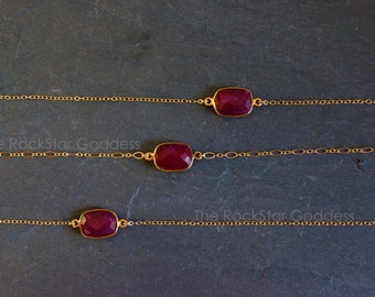 Ruby bezel // Ruby Necklace // Red Ruby // Ruby Jewelry // July Birthstone // Ruby // Gold Ruby