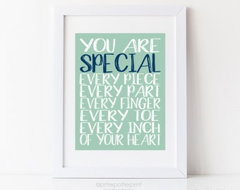 Mint Navy Nursery Art, Baby Boy Room Wall Decor, You are Special Typography Print, Children's Inspirational Art 8x10 or 11x14 in UNFRAMEDes