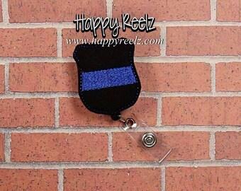 Blue Lives Matter Retractable Badge Reel - Police Officers-  ID Name Badge Holder- Swivel Alligator Clip OR Belt Clip- Nurse /Office Gift