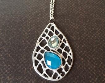 Wire Necklace - Wire Jewelry - Wire Jewlery - Turquoise Necklace - Turquoise Jewelry - Gemstone Necklace - Gemstone Pendant - Necklace