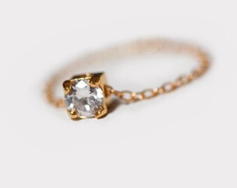 Cz Diamond Ring Stackable Dainty Ring, Chain Ring, Simple Cute Ring