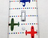 Airplanes Light Switch Plate Cover / Outlet Cover / Bedroom / Home Decor / Baby Shower Gift / Nursery Decor / Kid's Room / Planes / Red