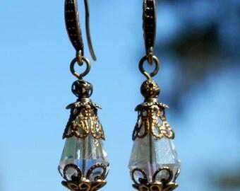 Clear Crystal Dangle, Drop Earrings in Bronze