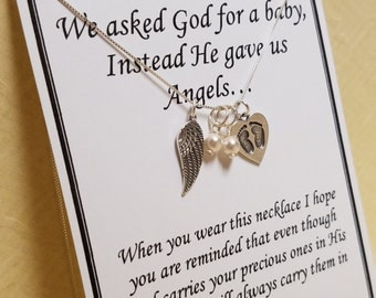 Miscarriage Memorial Gift Jewelry For Multiple Losses Sterling Silver Angel Wing and Baby Feed Pearl Drop Necklace