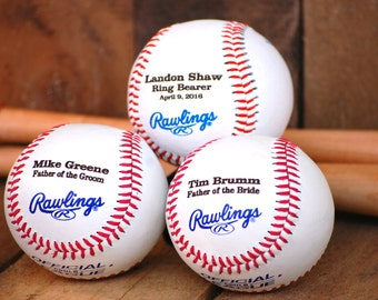 Personalized Ring Bearer Gift, 3 Baseballs, Custom Engraved Groomsmen Gift, Best Man Gift, Wedding Keepsake, Personalized Ring Bearer Sign