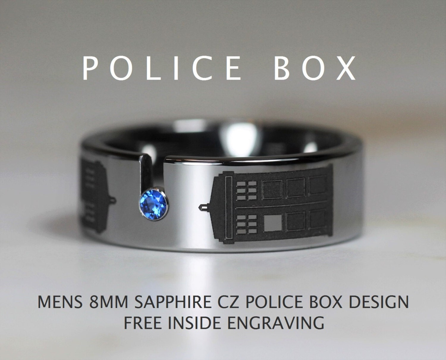 doctor who wedding police wedding bands Tungsten Doctor Who Inspired 8MM Sapphire Cz POLICE BOX Design