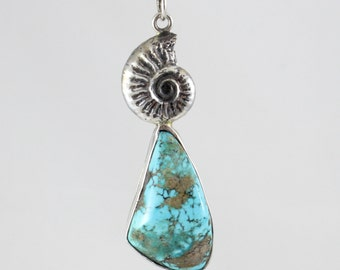 Handmade Sterling Silver Ammonite and Turquoise Pendant