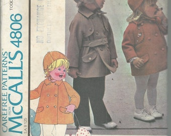 Uncut Vintage Pattern - TODDLER COAT & HAT  McCall's 4806 - Size 4 - Double Breasted Coat / Optional Belt - Brimmed Lined Hat with Ear Flaps