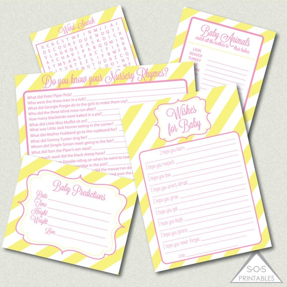 yellow and pink baby shower games printable baby shower games girl