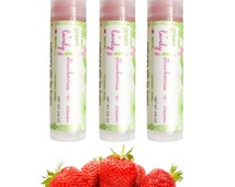 Strawberries -n- Cream, Nature's Silk Lip Balm. Botanical Beet Juice Tint. Organic. Pink. Nourishing Shea. Ecofriendly.