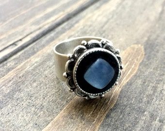 Gypsy Moonstone Ring - Silver Ring -  Adjustable Ring - Statement Ring - Hippie - Boho Ring - Gift for Her - Bridesmaid Gift - Ornate Ring